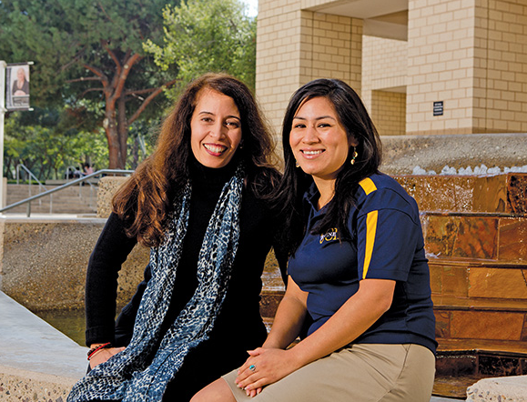 """UC-Irvine graduate student Cristina Flores (right) owes a lot to her friend and mentor Jeanett Castellanos, a lecturer in the university's social sciences department. The two met during the 2006 Summer Scholars Program, when Flores says Castellanos taught her the """"inside game"""" of higher education."""