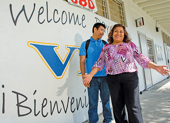 """Maricela Reyes with her son, Jonathan Garcia, who will be a freshman this fall at Santa Ana College. Reyes credits the Padres Promotores program for showing Jonathan the way to realize his dream of becoming an engineer. """"If it wasn't for the program, Jonathan wouldn't be able to visualize his future,"""" insists Reyes, who now serves as a parent volunteer herself."""
